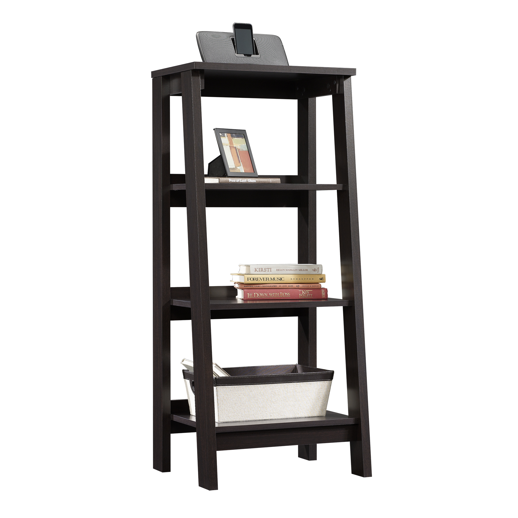 Sauder Trestle 3-Shelf Bookcase, Jamocha Wood Finish