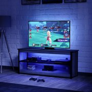 Bestier 55 inch TV Stand with 20 Color RGB Lights 2-Tier Storage Cabinet Units Entertainment Center in Gray