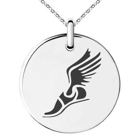 Small Charm Necklace (Stainless Steel Hermes Greek Messenger of Gods Engraved Small Medallion Circle Charm Pendant)