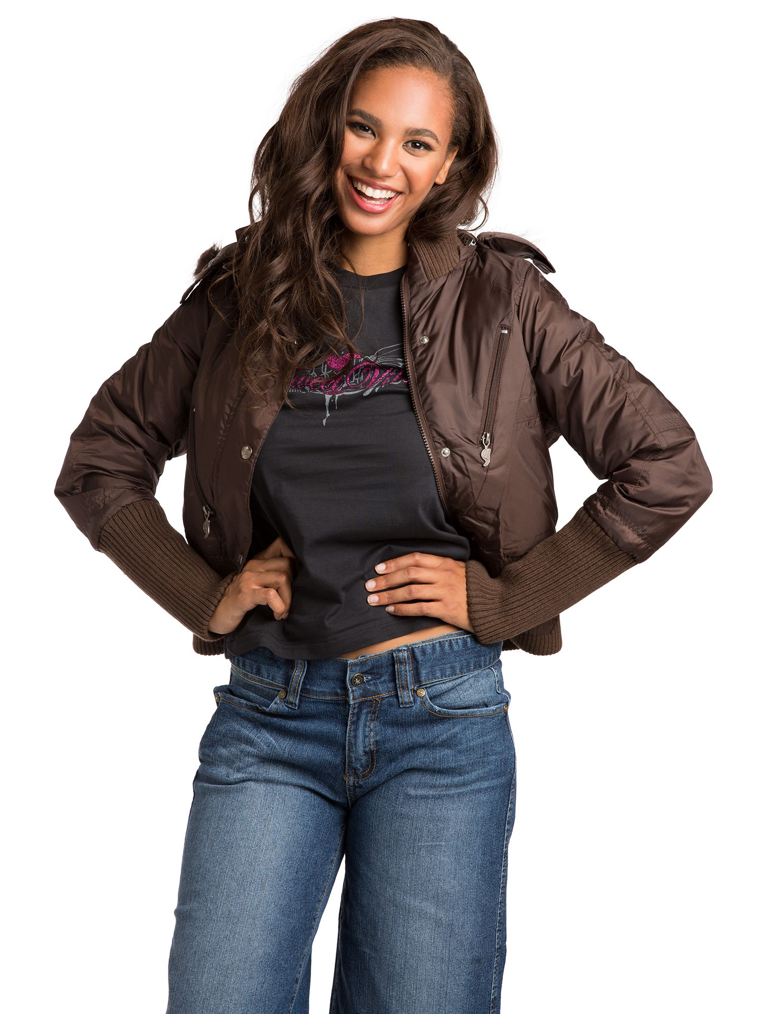 Sweet Vibes Junior Womens Black Puffy Down Jacket with luxurious faux fur Hood