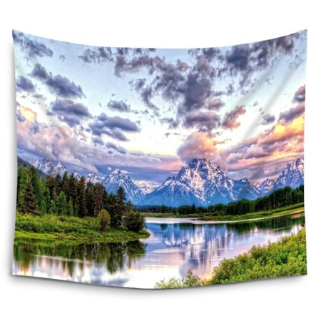 POPCreation Grand Teton Snowy Mountains Lake Tree Landscape Wall Hanging Tapestry Wall Art Tapestry 51x60 Inches (Grand Tapestry)