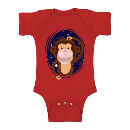 Baby Monkey Outfit (Awkward Styles Funny Monkey Baby Bodysuit Short Sleeve Baby Shower Gifts Monkey Outfit for Newborn Baby Monkey Bithday Party Monkey Chewing a Gum Clothing Animal Lover)