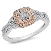Dazzlingrock Collection 0.50 Carat (ctw) Two Tone Rose Gold Plated 14K Diamond Engagement Ring 1/2 CT, White Gold, Size 5.5