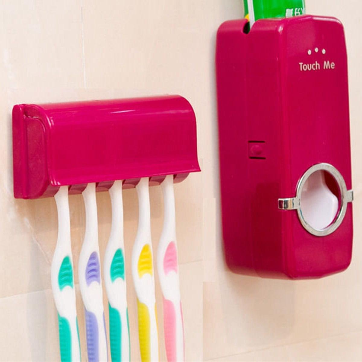 Handfree Toothbrush Holder Automatic Toothpaste Dispenser Set Holder BB