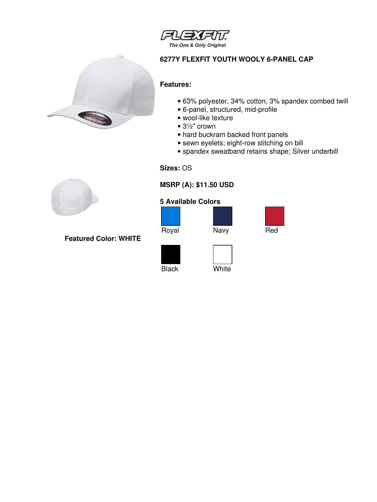 d3fc54ce13041d Flexfit 6277Y Youth Wooly Six Panel Cap - Navy - One Size - Walmart.com