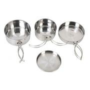 4 PCS Outdoor Stainless Steel Cookware Set Camping Trip Cookware Hiking Picnic Portable Cooker Set Large Pot+Medium Pot+Frying Pan+Dinner Plate