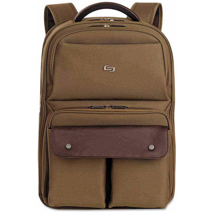 "SOLO Executive Laptop Backpack, 15.6"", 11-1/2"" x 4-1/4"" x 18 1/8"", Khaki/Brown"