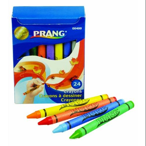 Dixon Prang 24 Count Wax Crayons - Assorted Wax - Assorted Barrel - 24 / Box (00400)