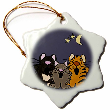 3dRose Funny Tiger cat, Black cat, and Grey Cat Singing in Moonlight , Snowflake Ornament, Porcelain, 3-inch ()