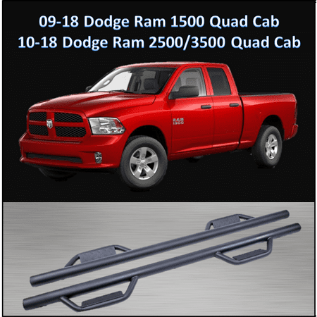 CONEXT Hoop Style Dropped Steps Textured Nerf Bars for 2009-2018 Dodge Ram 1500 Quad Cab/2010-2018 Dodge Ram 2500 & 3500 Quad Cab 289-TX-77