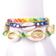 Wink International Handmade Thai-handicraft Multicolored Wood Beads and Sea Shells Wax Cord Bracelets (Thailand)