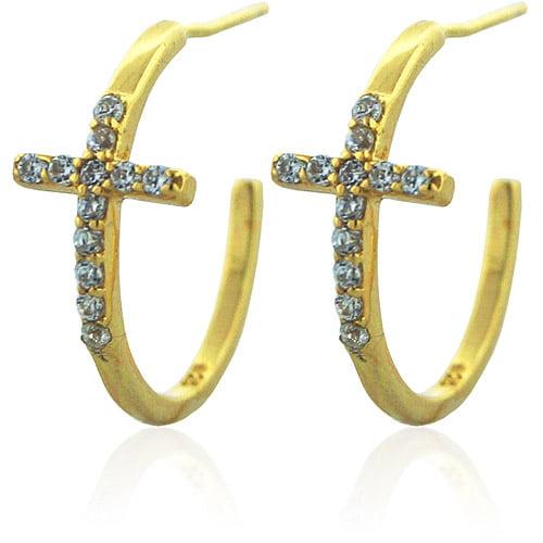 """CZ 18kt Gold over Sterling Silver Sideways Cross 3/4"""" Hoop Earrings"""