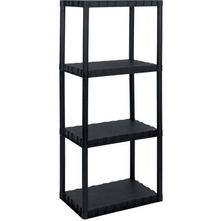 Keter Plastic 4-Tier Shelf, 14″ x 22″ Resin Shelving Unit, Black