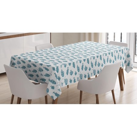 Fish Tablecloth, Monochrome Animal Group Pattern with Different Scale Design Exotic Ocean Fauna, Rectangular Table Cover for Dining Room Kitchen, 60 X 84 Inches, Slate Blue White, by -
