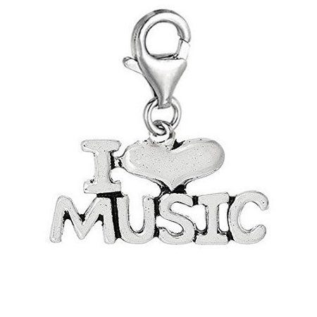 I love Music With Heart Clip On Charm Pendant for European Charm Jewelry w/ Lobster Clasp