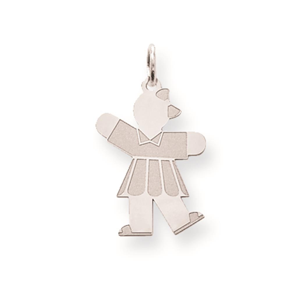 Sterling Silver Laser-cut Polished Kid Solid Charm Pendant