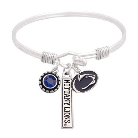 Penn State Nittany Lions Women's Triple Charm Bangle Bracelet - Silver - No (Penn State Charm)