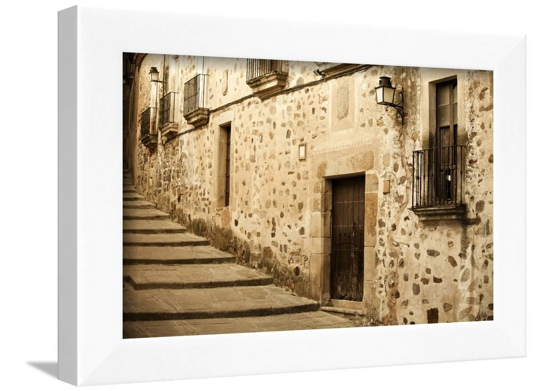 Antique Medieval Street at Unesco City of Caceres. Framed Print Wall ...