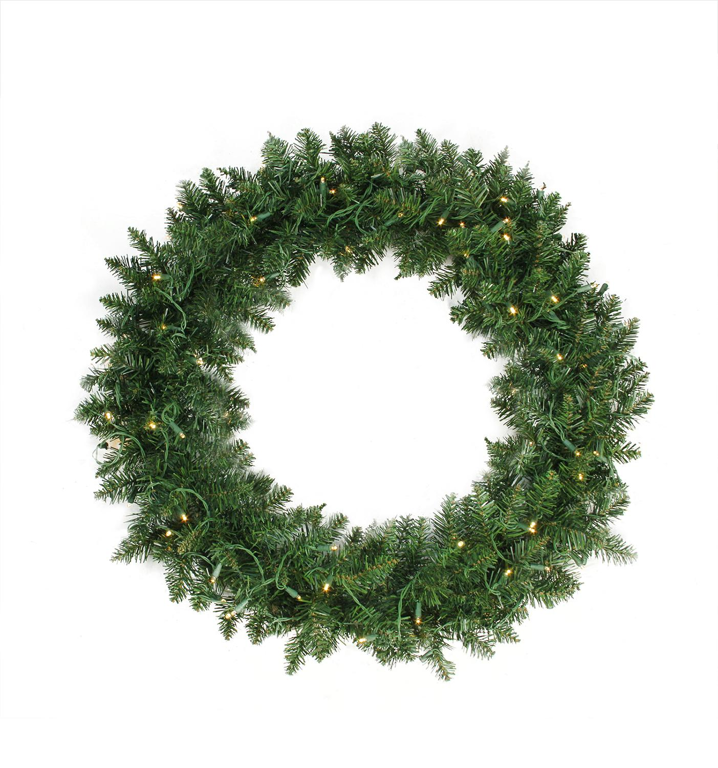 "36"" Pre-Lit Buffalo Fir Artificial Christmas Wreath - Warm White LED Lights"