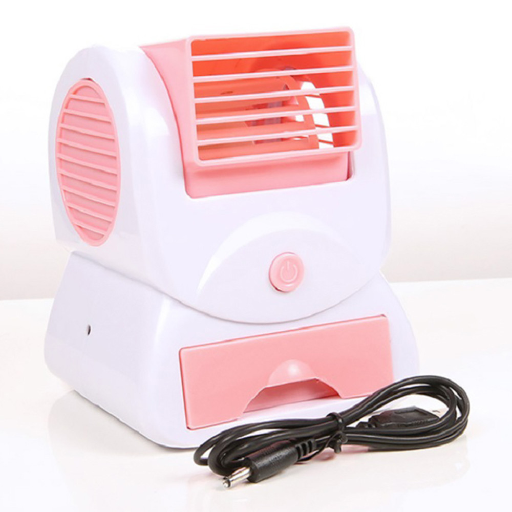 Mini Small Fan Cooling Portable Desktop Dual Bladeless Air Conditioner USB Pink