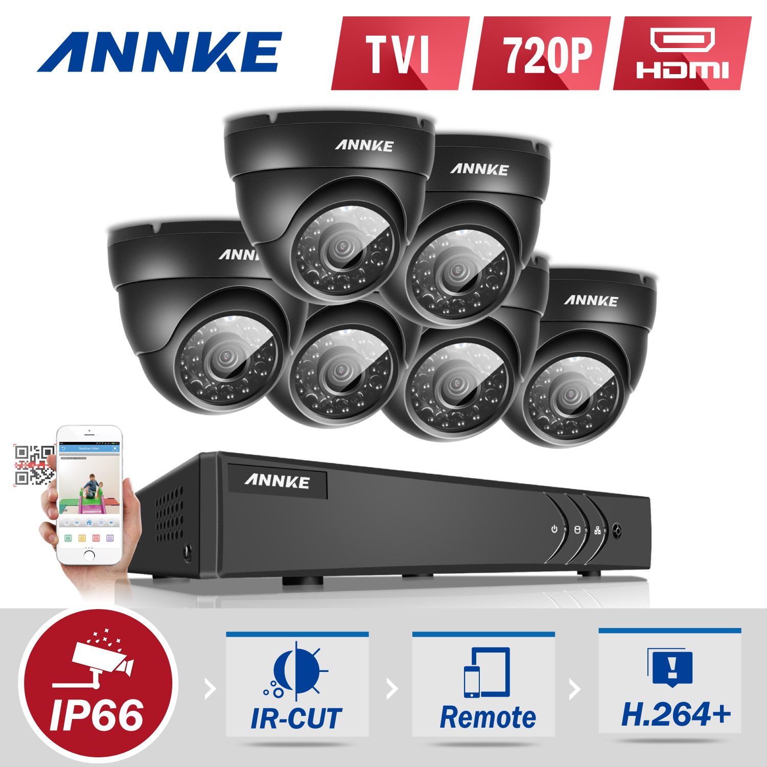 Annke 8 Channel Hd Tvi 1080p Lite Video Security System Dvr And 6 Weatherproof Indoor Outdoor Cameras Ir Cut Night Vision 0 No Hdd 1 1tb Hdd Walmart Com Walmart Com