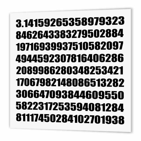 3dRose Pi math number Mathematical black and white mathematic numeric figures, Iron On Heat Transfer, 8 by 8-inch, For White Material