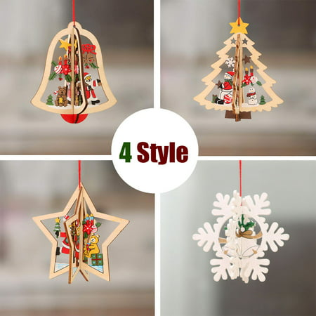 Peroptimist Natural Wood Christmas Tree Ornament New Year Wooden Pendants Gifts Xmas Decoration for Office House Room ()