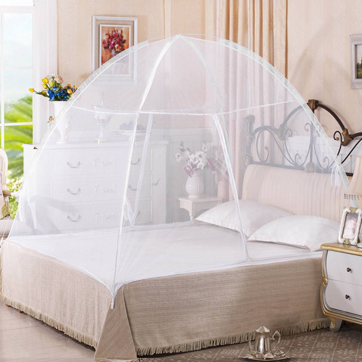 Gymax Portable Folding Mosquito Net Tent Bed Anti Zipper Mosquito Bites POP  UP Net