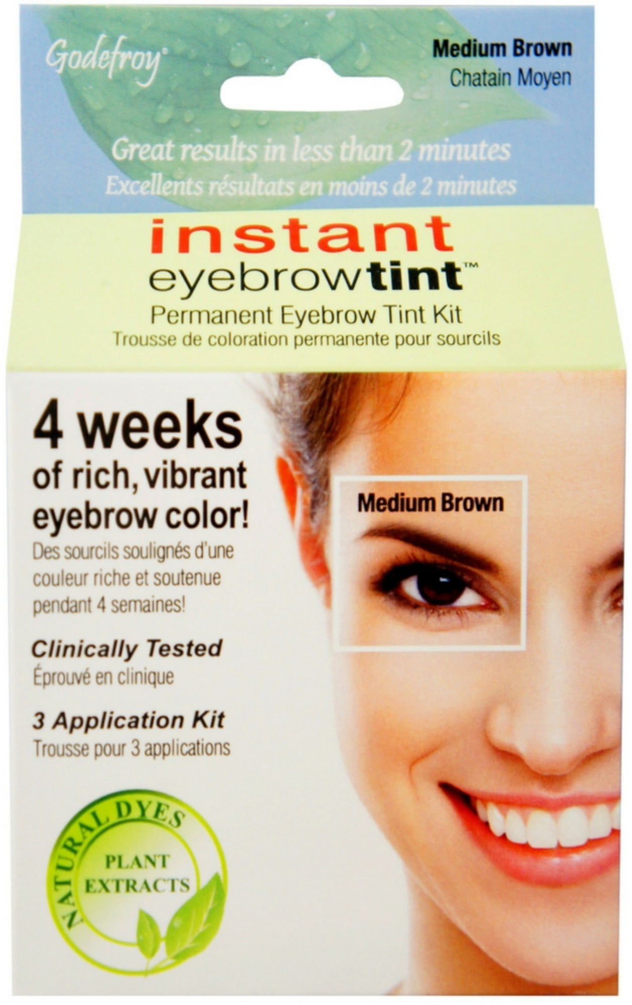Godefroy Instant Eyebrow Tint Eyebrow Gel Colorant Dark Brown 3 Ea