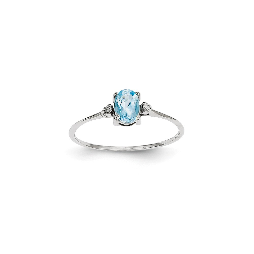 Solid 14k White Gold Diamond & Blue Simulated Topaz Simulated Birthstone Ring (2mm) Size 4 by AA Jewels