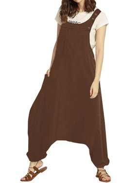 Women Sleeveless Casual Loose Solid Color Cotton Jumpsuits Harem Pants