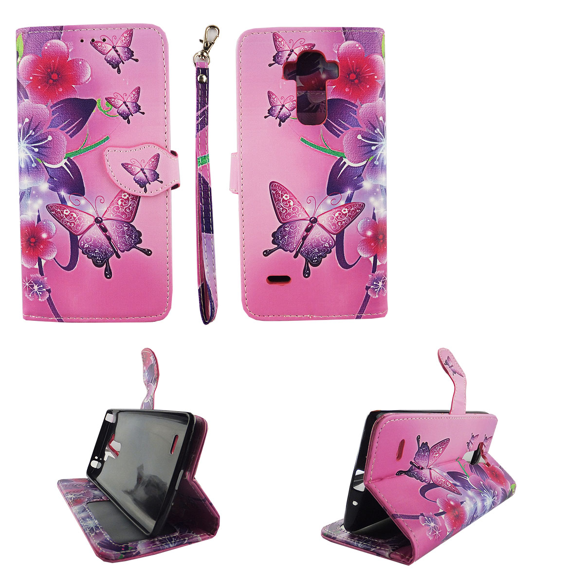 Butterfly Flower Pink Wallet Folio Case for LG G Stylo LS770 Stylus Fashion Flip PU Leather Cover Card Cash Slots & Stand
