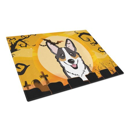 Caroline's Treasures Halloween Tricolor Corgi Glass Cutting Board Large - Halloween Svg Cutting Files