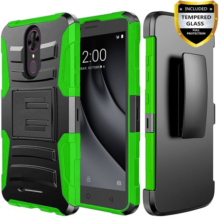T-Mobile Revvl Plus Case, Dual Layers [Combo Holster] Phone Cover And Built-In Kickstand Bundled with [Tempered Glass Screen Protector] And Circlemalls Stylus Pen For Coolpad Revvl Plus (Green) Case Green Circle