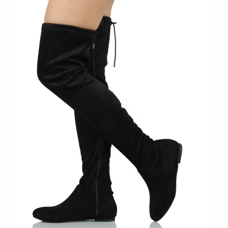 Flat Over The Knee Boots (Nature Breeze Women's Faux Suede Over the Knee Back Tie Flat Boot)