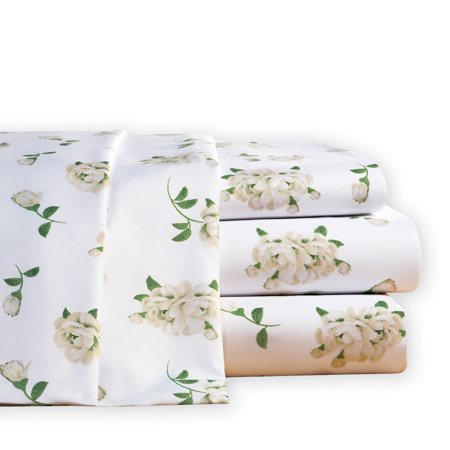 - Magnolia Blossom Floral Microfiber Bed Sheet Set, Queen, White
