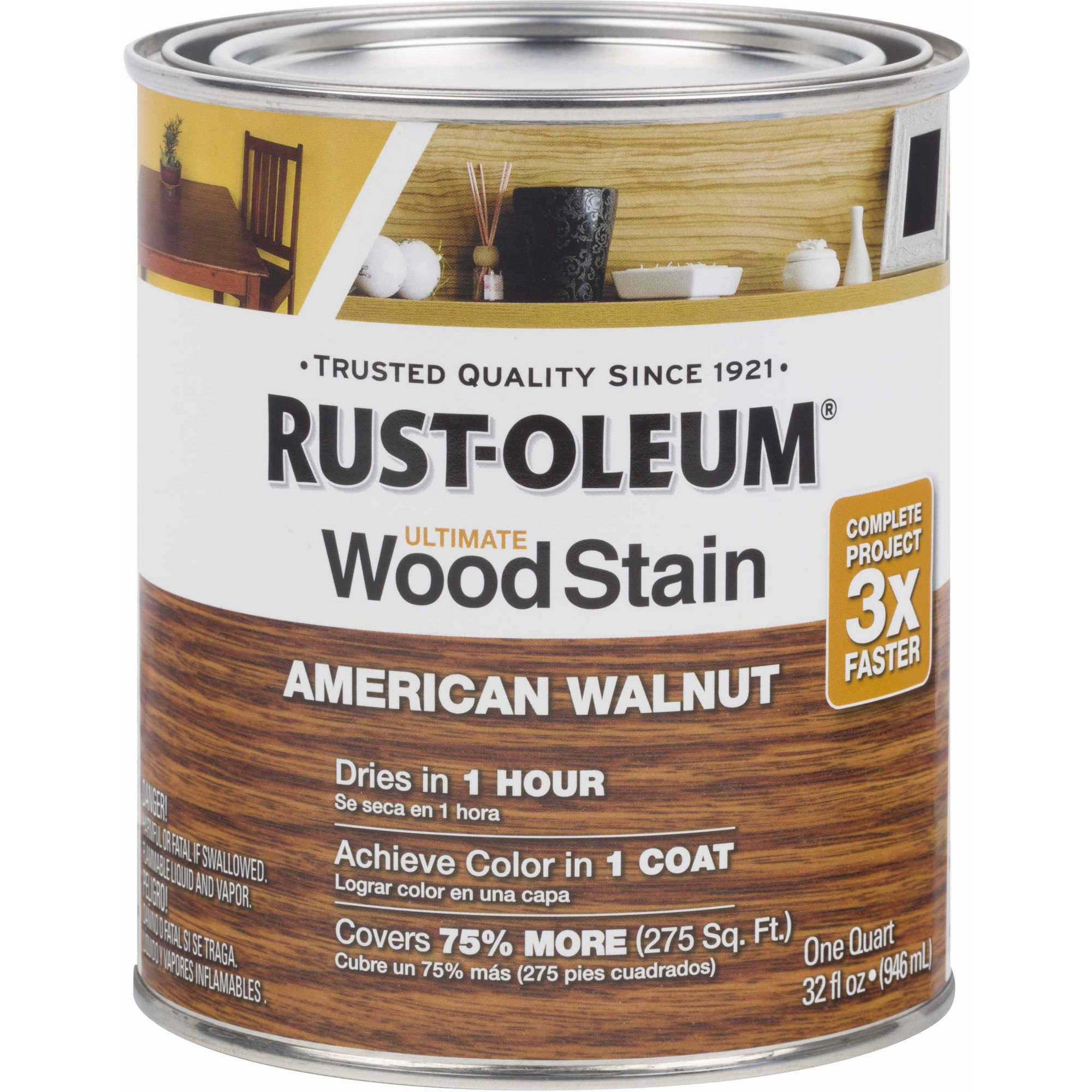 Rust-Oleum Ultimate Wood Stain Quart, American Walnut
