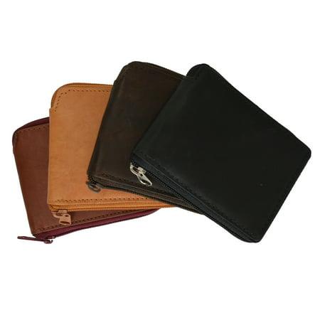 Bi Fold Clutch - Mens Leather Wallet Pockets Money Purse Credit Card Clutch Bifold Zipper 1456 CF (C)
