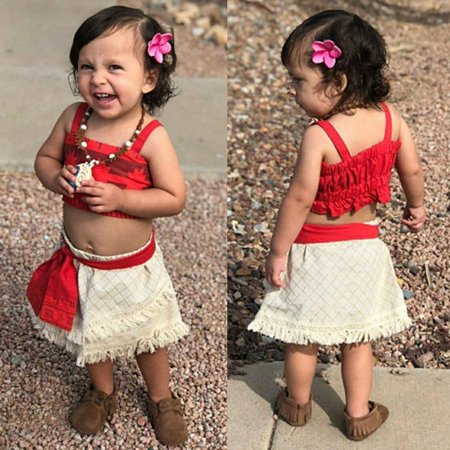 Cosplay Ideas Girls (2pcs Baby Kids Girl Embroidery Clothes Tops +Skirt Moana Cosplay Outfits)