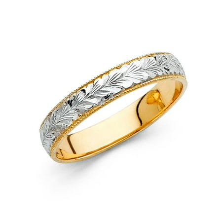 Solid 14k Yellow White Gold Wedding Milgrain Ring Diamond Cut Band Filigree Two Tone Style 4 mm