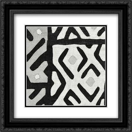 Kuba Cloth I Square I BW 2x Matted 20x20 Black Ornate Framed Art Print by Wild Apple Portfolio
