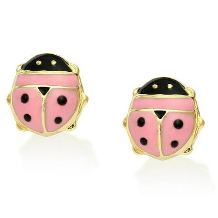 Tiny 14k Yellow Gold and Pink Enamel Lucky Ladybug Stud - 14k Yellow Gold Ladybug