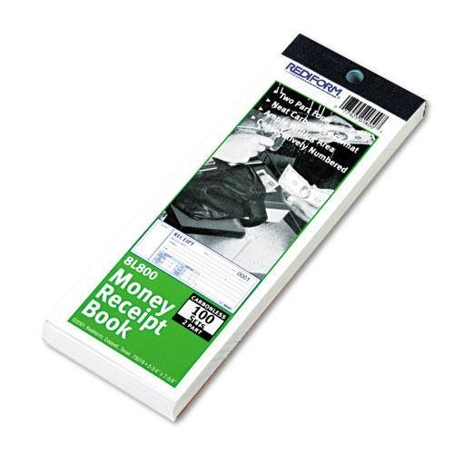 Rediform 8L800 Money Receipt Book, 2 3 4 x 7, Carbonless Duplicate, 100 Sets Book by