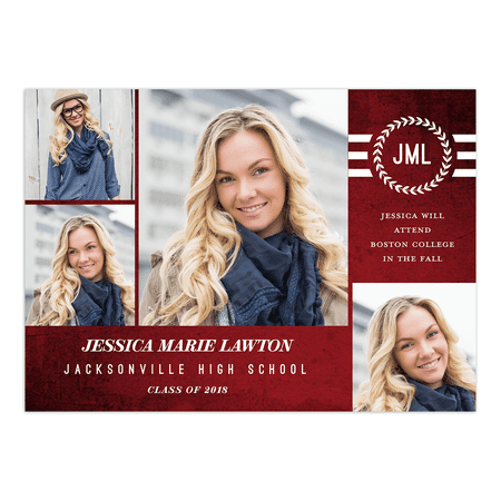 Textured Monogram Graduation Announcement 2 Picture Photo Cards