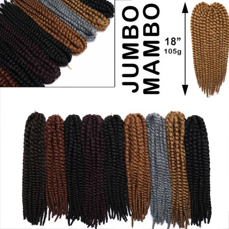 S-noilite Twist Crochet Hair 18 inch For Women Small Havana Mambo Twist Crochet Hair Braiding 12 strands/pack Synthetic Hair Extensions Dark Wine (Type Of Hair Used For Havana Twists)