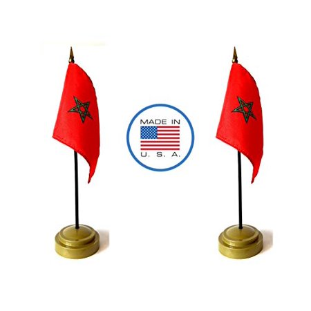 """Made in The USA Flag Set. 2 Morocco Rayon 4""""x6"""" Miniature Office Desk & Little Hand Waving Table Flags Includes 2 Bronze Flag Stands & 2 Small Mini Moroccan Stick Flags"""