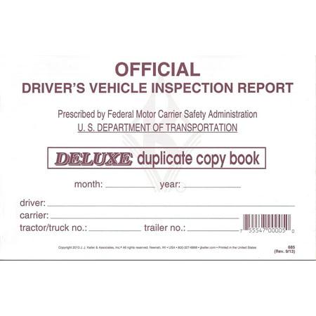 J.J. Keller 685 (15B) Detailed Driver's Vehicle Inspection Report, Duplicate, 50 Pack