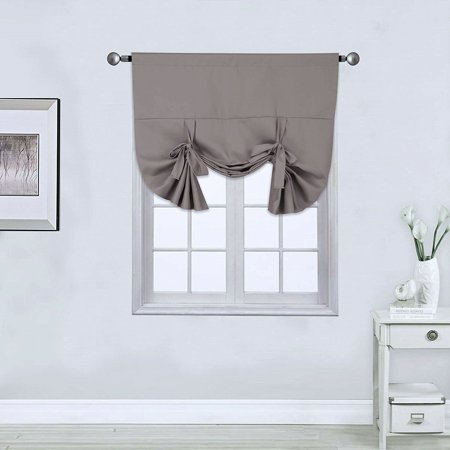 1PC VALANCE SILVER SOLID TIE UP PANEL CURTAIN BLACK OUT THERMAL INSULATED ROD POCKET 46