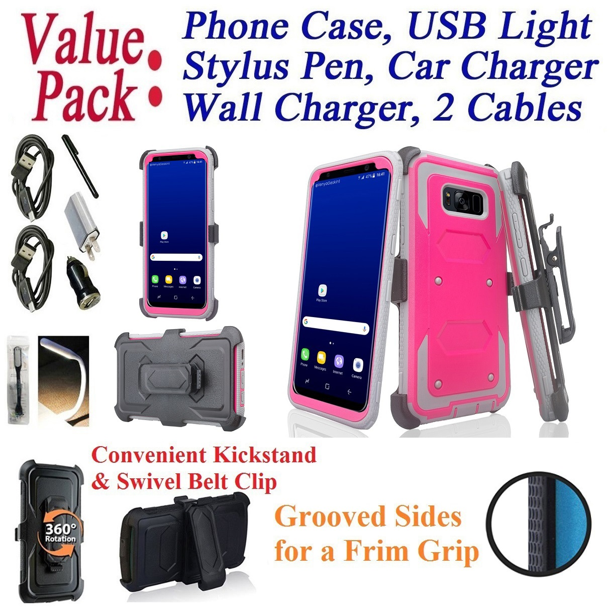 """Value Pack Cables Chargers + for 5.8"""" Samsung Galaxy S8 Case Phone Case Clip Kick Stand Armor Holster Grip Sides Hybrid Shock Bumper Cover Blue"""