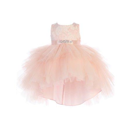 Baby Girls Blush Lace Bodice Beaded Sash Hi-Low Flower Girl Dress (Beaded Bodice)